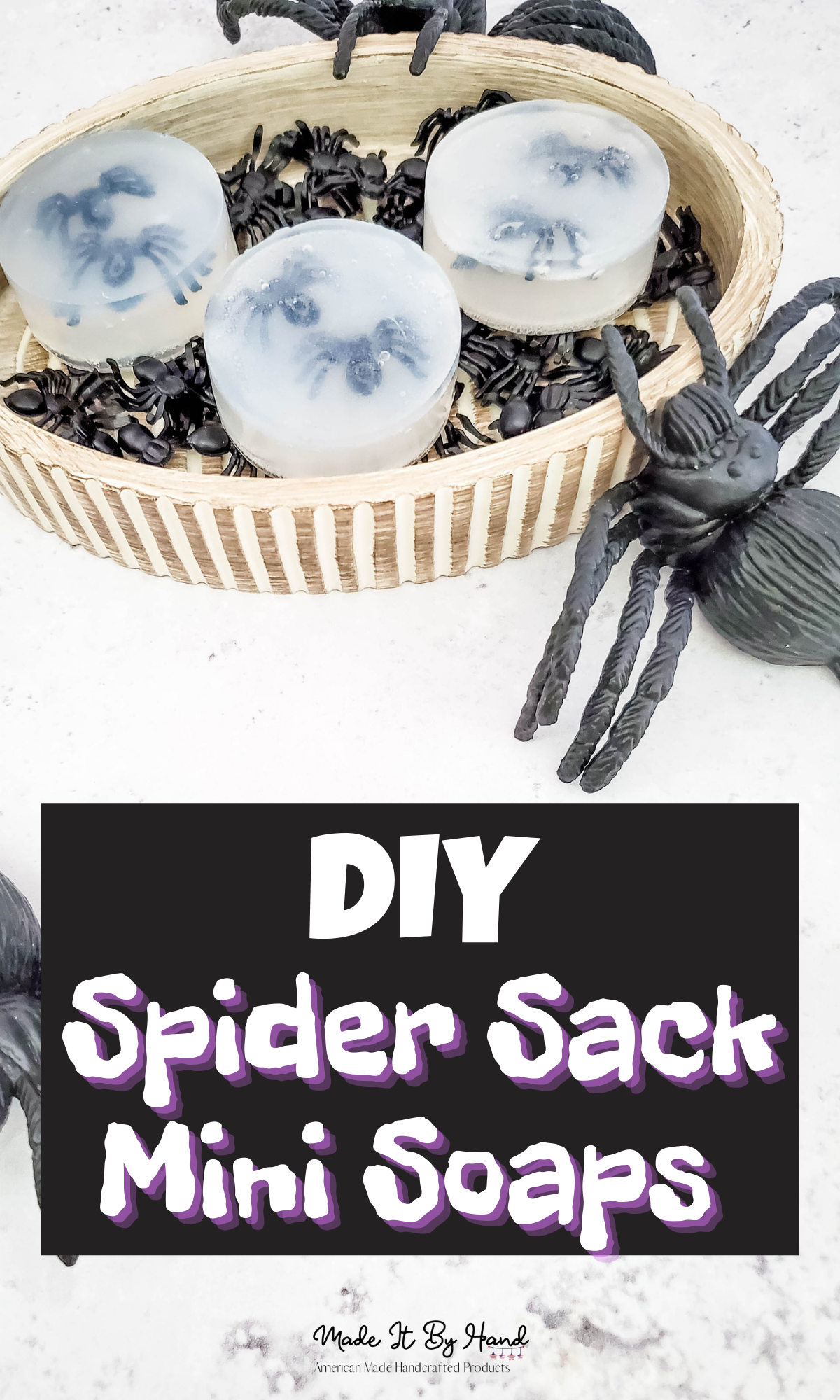 DIY Spider sack mini soaps